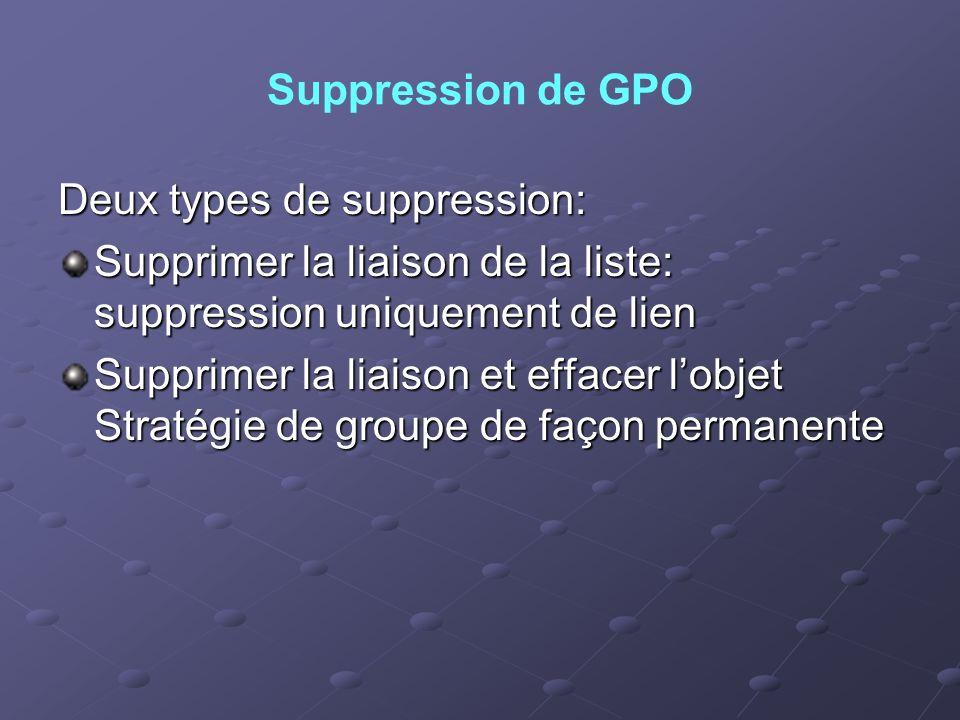 Suppression de GPO Deux types de suppression: Supprimer la liaison de la liste: suppression uniquement de lien Supprimer la liaison et effacer lobjet