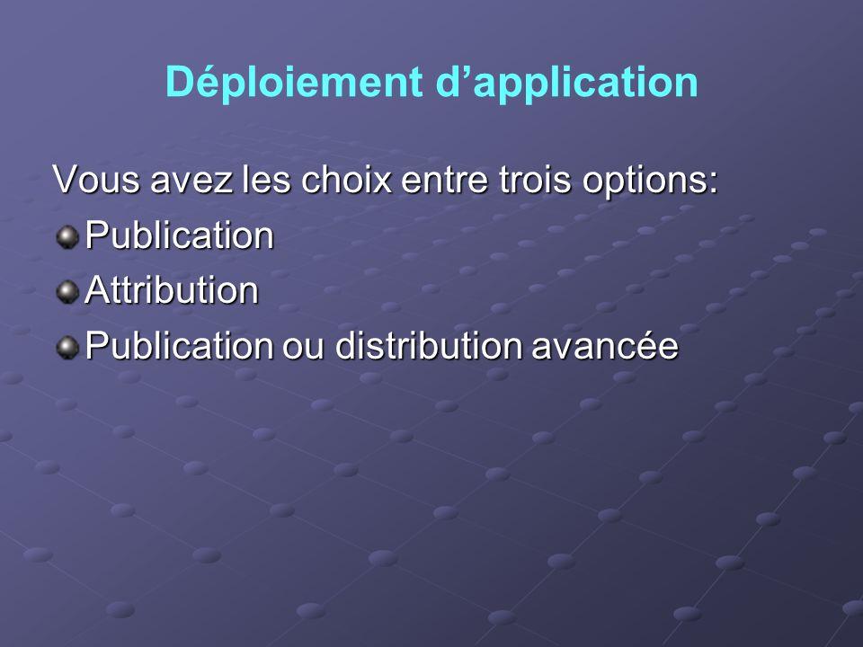 Déploiement dapplication Vous avez les choix entre trois options: PublicationAttribution Publication ou distribution avancée