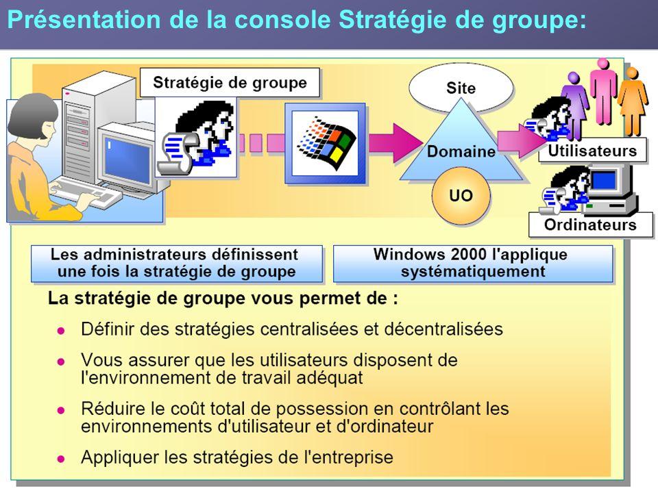 Une stratégie de groupe permet d effectuer les tâches suivantes Centraliser les stratégies en définissant une stratégie de groupe pour l ensemble de l entreprise au niveau du site ou du domaine ou décentraliser les paramètres de stratégie de groupe en définissant une stratégie de groupe pour chaque service au niveau d une unité d organisation.