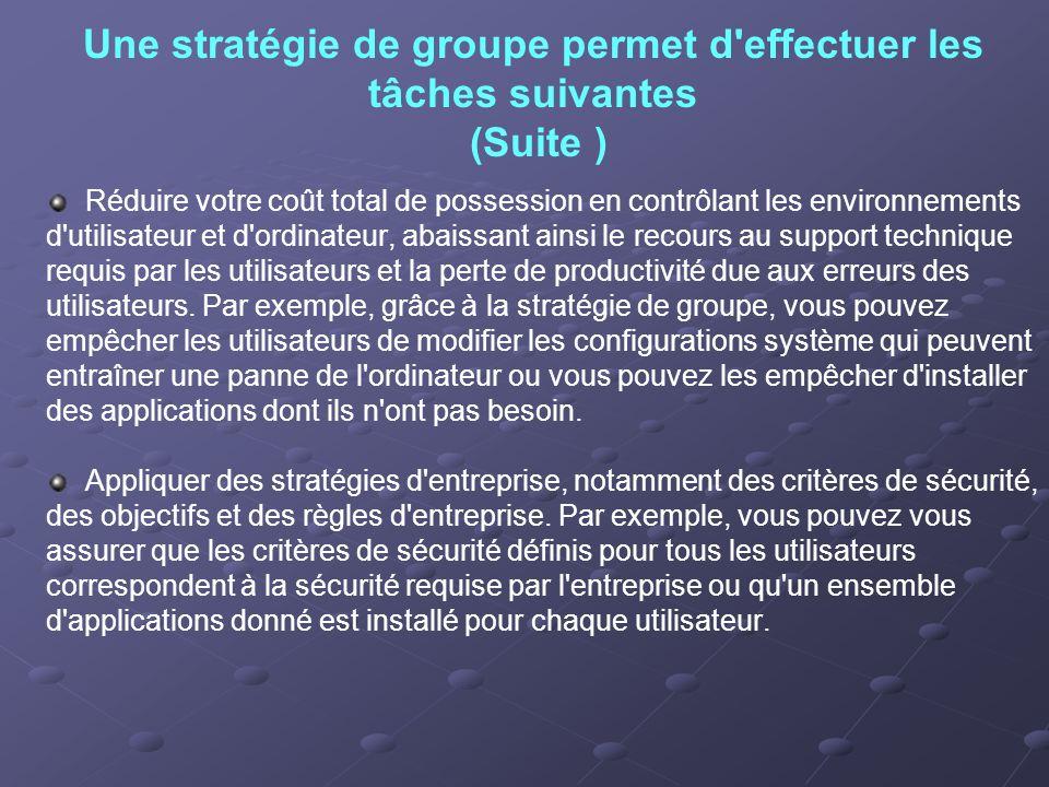 Une stratégie de groupe permet d'effectuer les tâches suivantes (Suite ) Réduire votre coût total de possession en contrôlant les environnements d'uti
