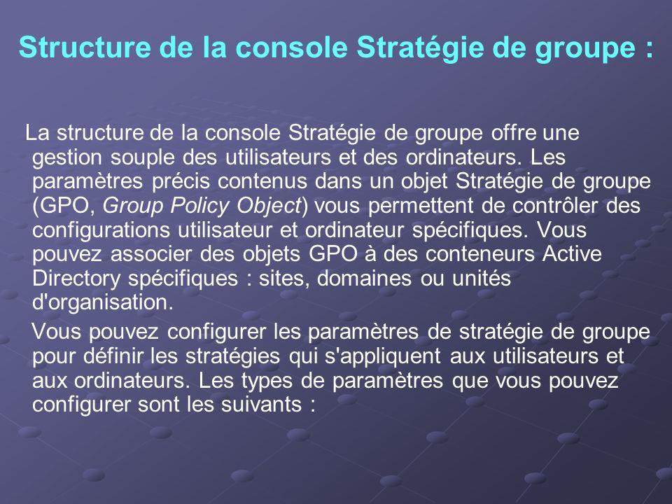Structure de la console Stratégie de groupe : La structure de la console Stratégie de groupe offre une gestion souple des utilisateurs et des ordinate