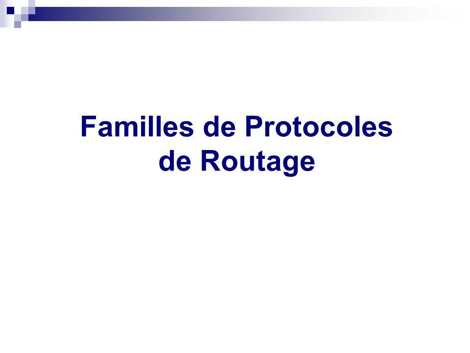 Routage statique ou dynamique Familles de Protocoles de Routage