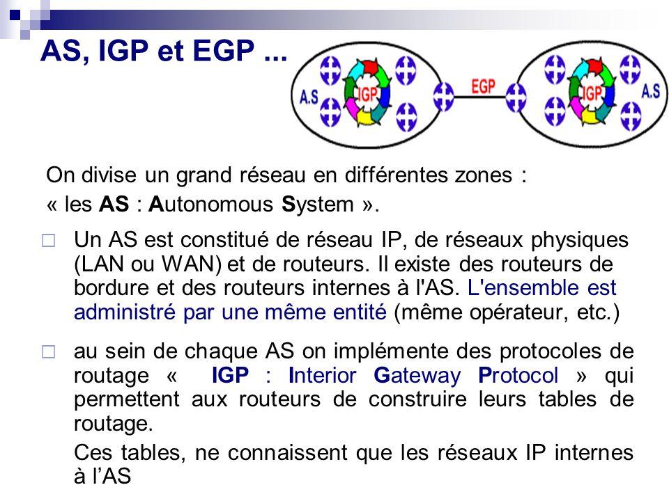 AS, IGP et EGP... On divise un grand réseau en différentes zones : « les AS : Autonomous System ». Un AS est constitué de réseau IP, de réseaux physiq