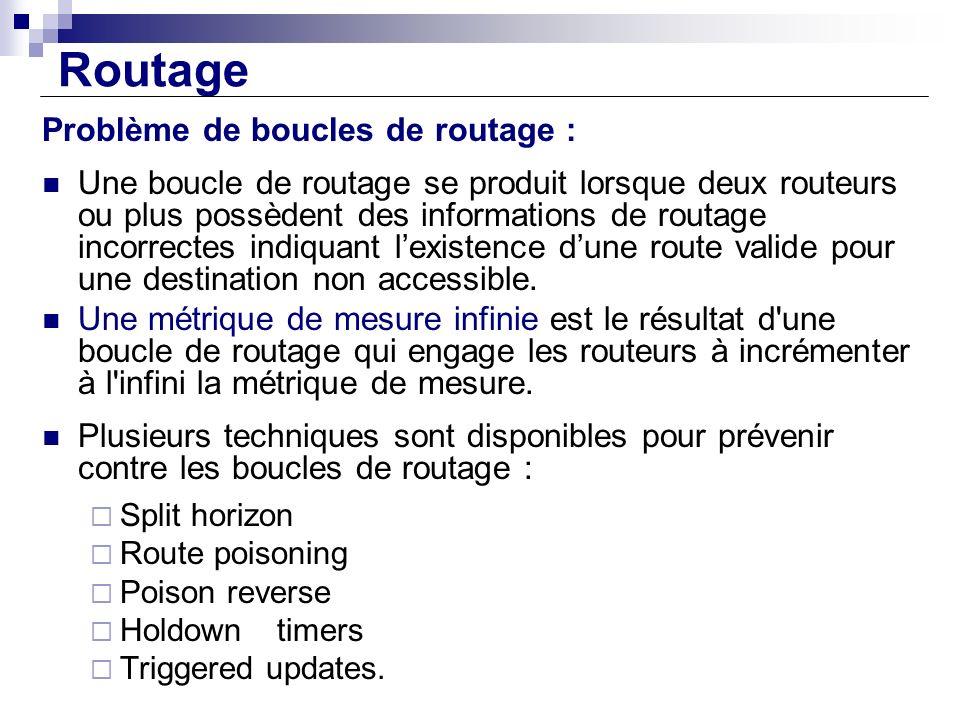 Routage Problème de boucles de routage : Une boucle de routage se produit lorsque deux routeurs ou plus possèdent des informations de routage incorrec