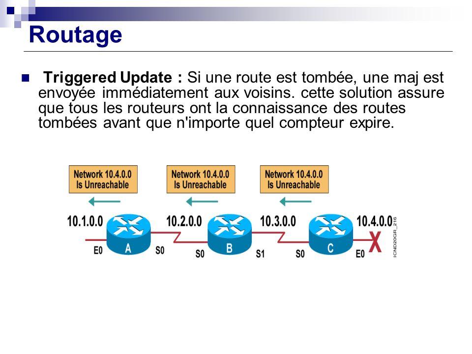 Routage Triggered Update : Si une route est tombée, une maj est envoyée immédiatement aux voisins. cette solution assure que tous les routeurs ont la