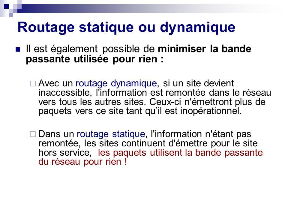 Routage statique ou dynamique Il est également possible de minimiser la bande passante utilisée pour rien : Avec un routage dynamique, si un site devi