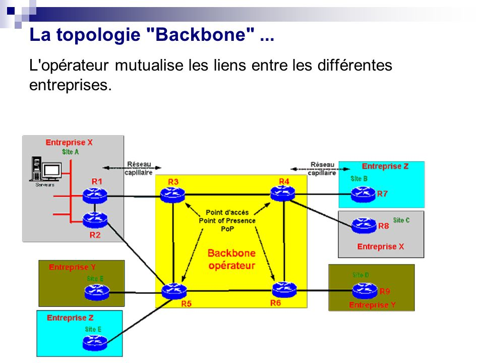 L'opérateur mutualise les liens entre les différentes entreprises. La topologie