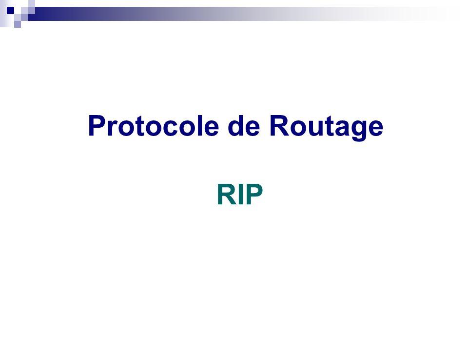 Routage statique ou dynamique Protocole de Routage RIP