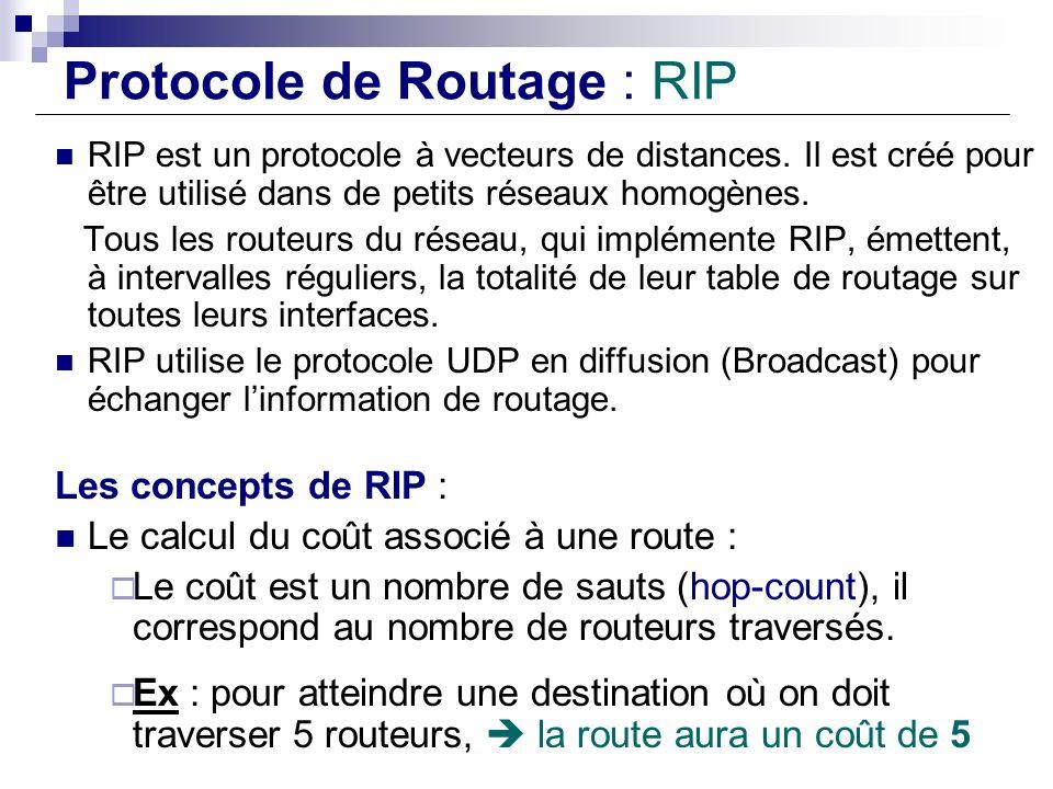 Protocole de Routage : RIP RIP est un protocole à vecteurs de distances. Il est créé pour être utilisé dans de petits réseaux homogènes. Tous les rout