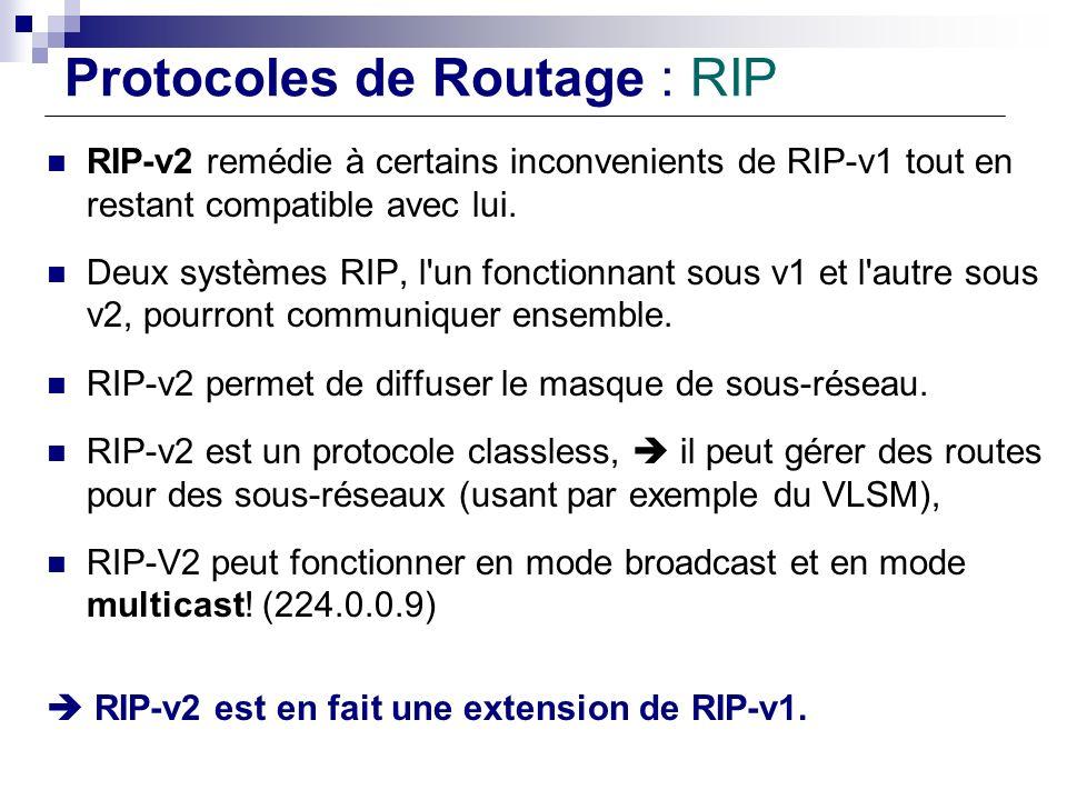 Protocoles de Routage : RIP RIP-v2 remédie à certains inconvenients de RIP-v1 tout en restant compatible avec lui. Deux systèmes RIP, l'un fonctionnan