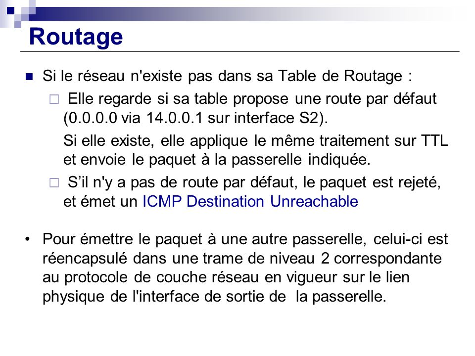 Routage Si le réseau n'existe pas dans sa Table de Routage : Elle regarde si sa table propose une route par défaut (0.0.0.0 via 14.0.0.1 sur interface
