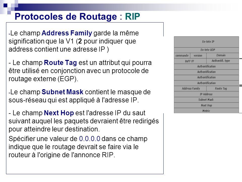 Protocoles de Routage : RIP - Le champ Address Family garde la même signification que la V1 (2 pour indiquer que address contient une adresse IP ) - L