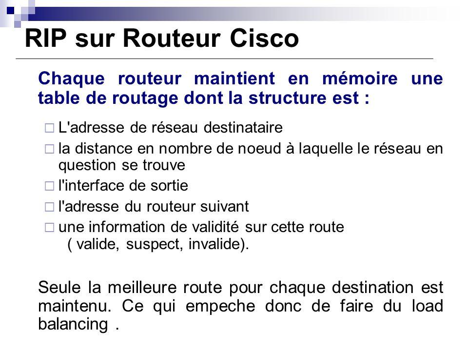 RIP sur Routeur Cisco Chaque routeur maintient en mémoire une table de routage dont la structure est : L'adresse de réseau destinataire la distance en