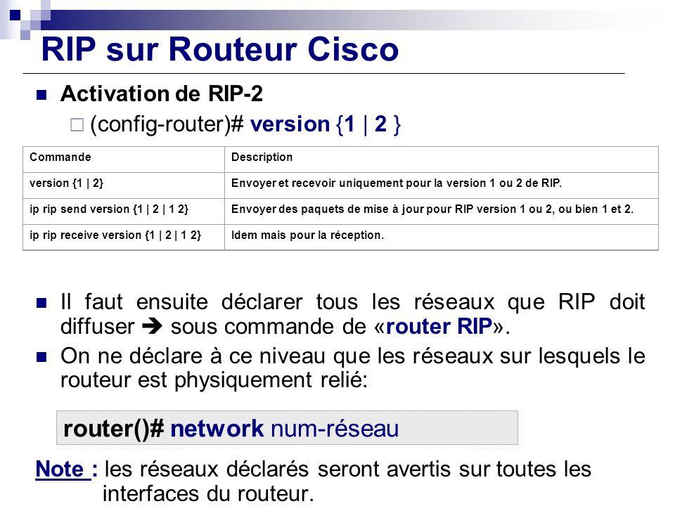 RIP sur Routeur Cisco Activation de RIP-2 (config-router)# version {1 | 2 } Il faut ensuite déclarer tous les réseaux que RIP doit diffuser sous comma