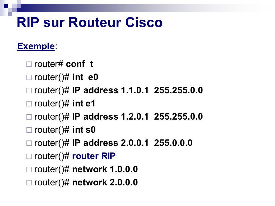 RIP sur Routeur Cisco Exemple: router# conf t router()# int e0 router()# IP address 1.1.0.1 255.255.0.0 router()# int e1 router()# IP address 1.2.0.1