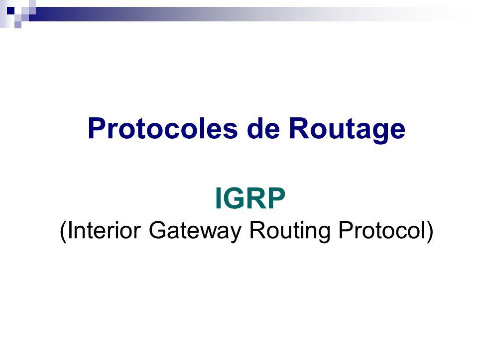 Routage statique ou dynamique Protocoles de Routage IGRP (Interior Gateway Routing Protocol)