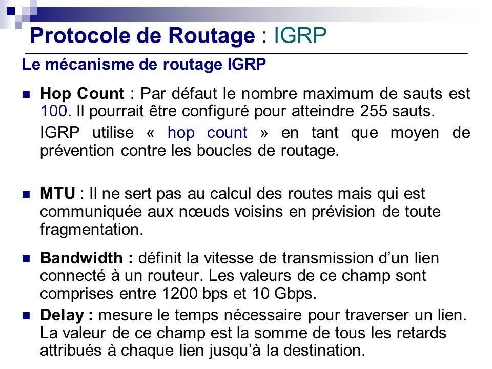 Protocole de Routage : IGRP Le mécanisme de routage IGRP Hop Count : Par défaut le nombre maximum de sauts est 100. Il pourrait être configuré pour at