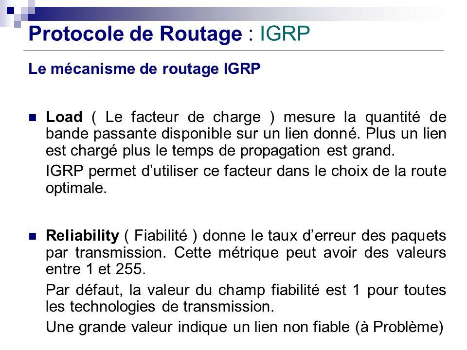 Protocole de Routage : IGRP Le mécanisme de routage IGRP Load ( Le facteur de charge ) mesure la quantité de bande passante disponible sur un lien don