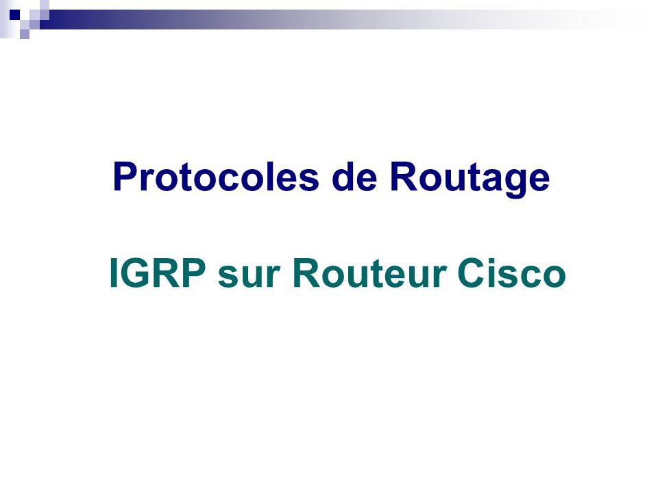 Routage statique ou dynamique Protocoles de Routage IGRP sur Routeur Cisco