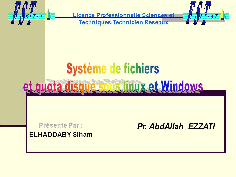 Licence Professionnelle Sciences et Techniques Technicien Réseaux Présenté Par : ELHADDABY Siham Pr. AbdAllah EZZATI