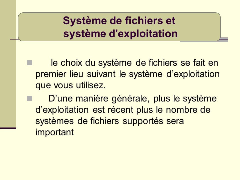 le choix du système de fichiers se fait en premier lieu suivant le système dexploitation que vous utilisez. Dune manière générale, plus le système dex