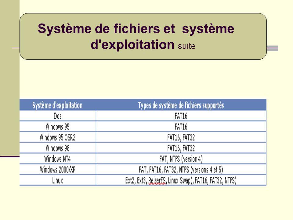 Système de fichiers et système d'exploitation suite
