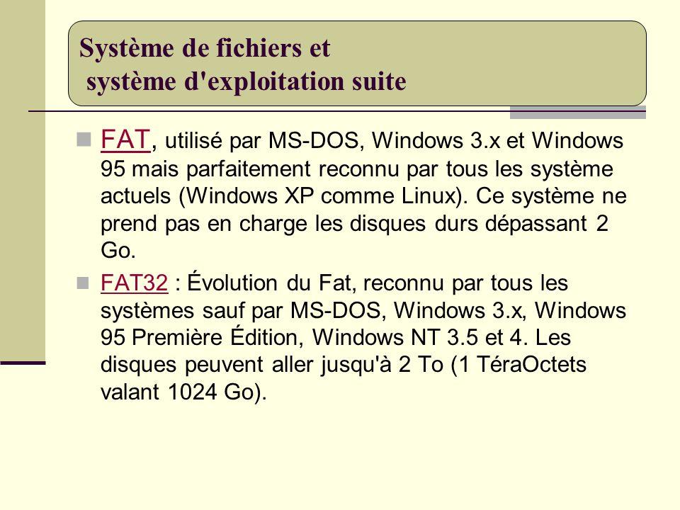 FAT, utilisé par MS-DOS, Windows 3.x et Windows 95 mais parfaitement reconnu par tous les système actuels (Windows XP comme Linux). Ce système ne pren