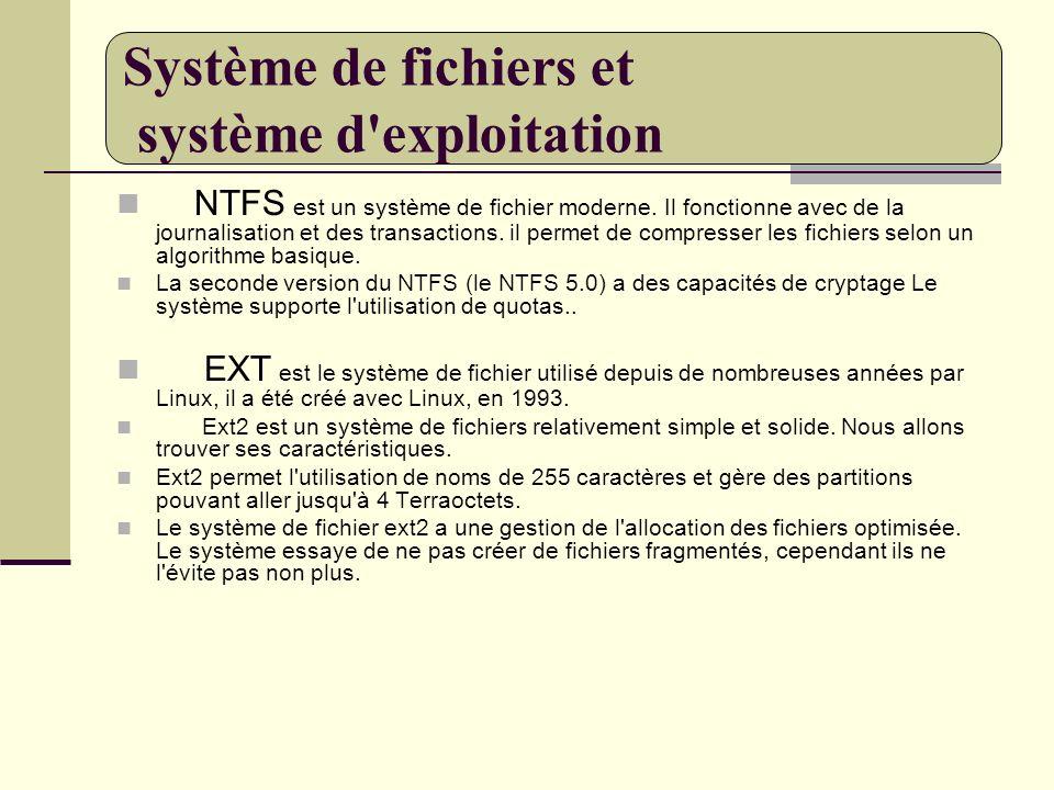 NTFS est un système de fichier moderne. Il fonctionne avec de la journalisation et des transactions. il permet de compresser les fichiers selon un alg