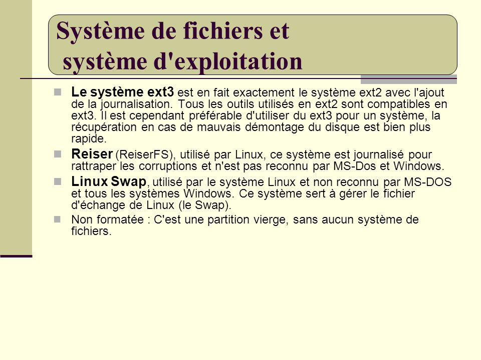 Le système ext3 est en fait exactement le système ext2 avec l'ajout de la journalisation. Tous les outils utilisés en ext2 sont compatibles en ext3. I