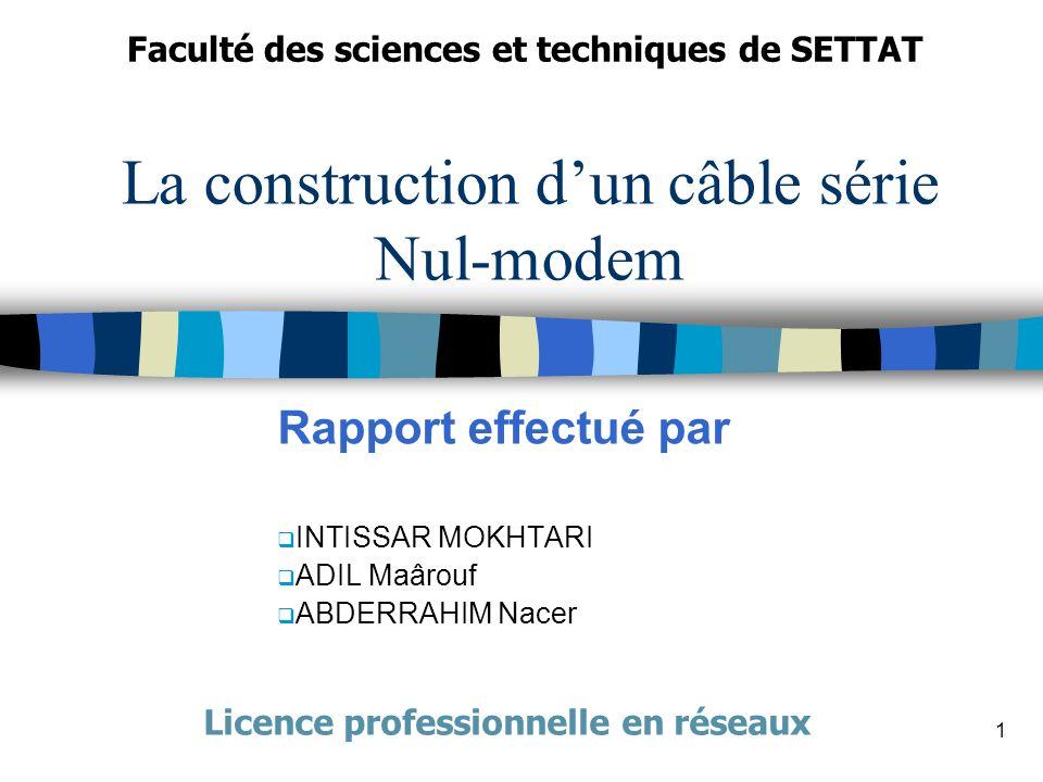 1 La construction dun câble série Nul-modem Rapport effectué par INTISSAR MOKHTARI ADIL Maârouf ABDERRAHIM Nacer Faculté des sciences et techniques de SETTAT Licence professionnelle en réseaux