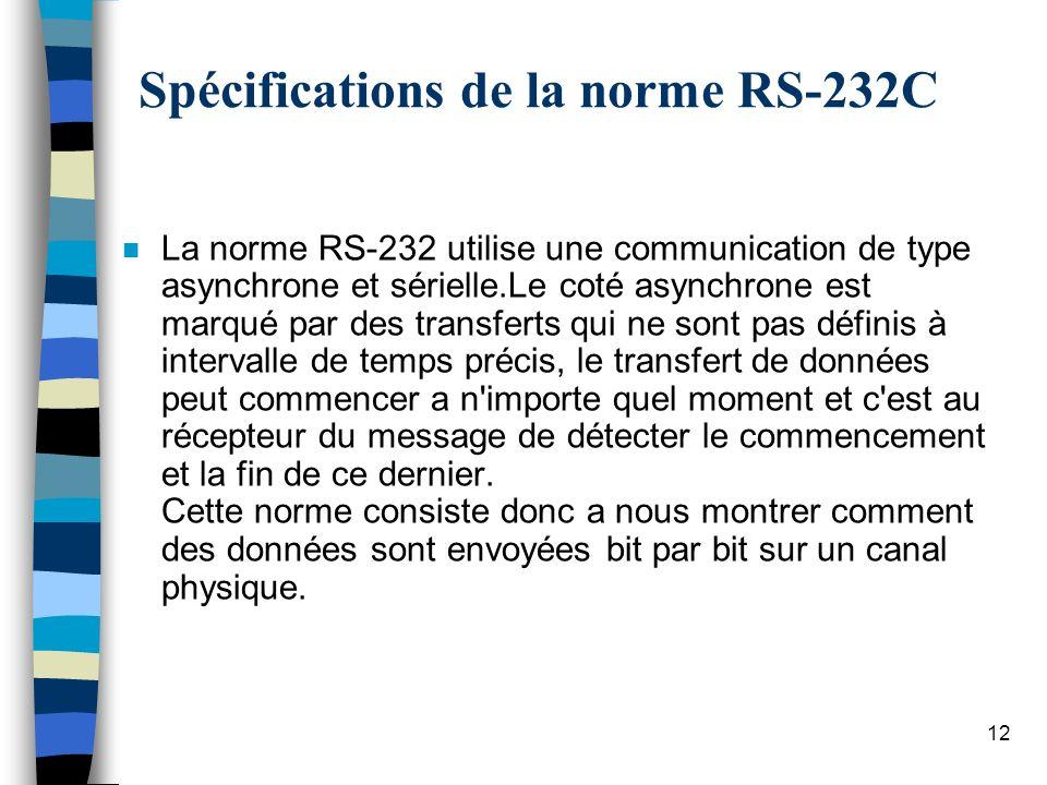12 Spécifications de la norme RS-232C n La norme RS-232 utilise une communication de type asynchrone et sérielle.Le coté asynchrone est marqué par des transferts qui ne sont pas définis à intervalle de temps précis, le transfert de données peut commencer a n importe quel moment et c est au récepteur du message de détecter le commencement et la fin de ce dernier.