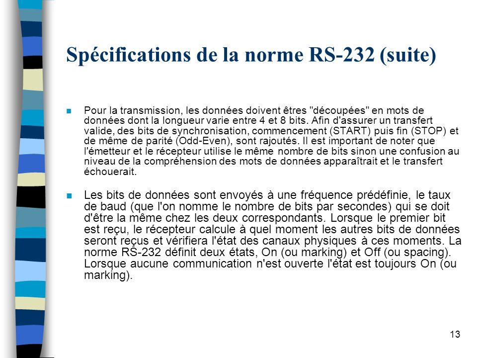 13 Spécifications de la norme RS-232 (suite) n Pour la transmission, les données doivent êtres découpées en mots de données dont la longueur varie entre 4 et 8 bits.