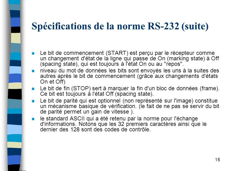 15 Spécifications de la norme RS-232 (suite) n Le bit de commencement (START) est perçu par le récepteur comme un changement d état de la ligne qui passe de On (marking state) à Off (spacing state), qui est toujours à l état On ou au repos .