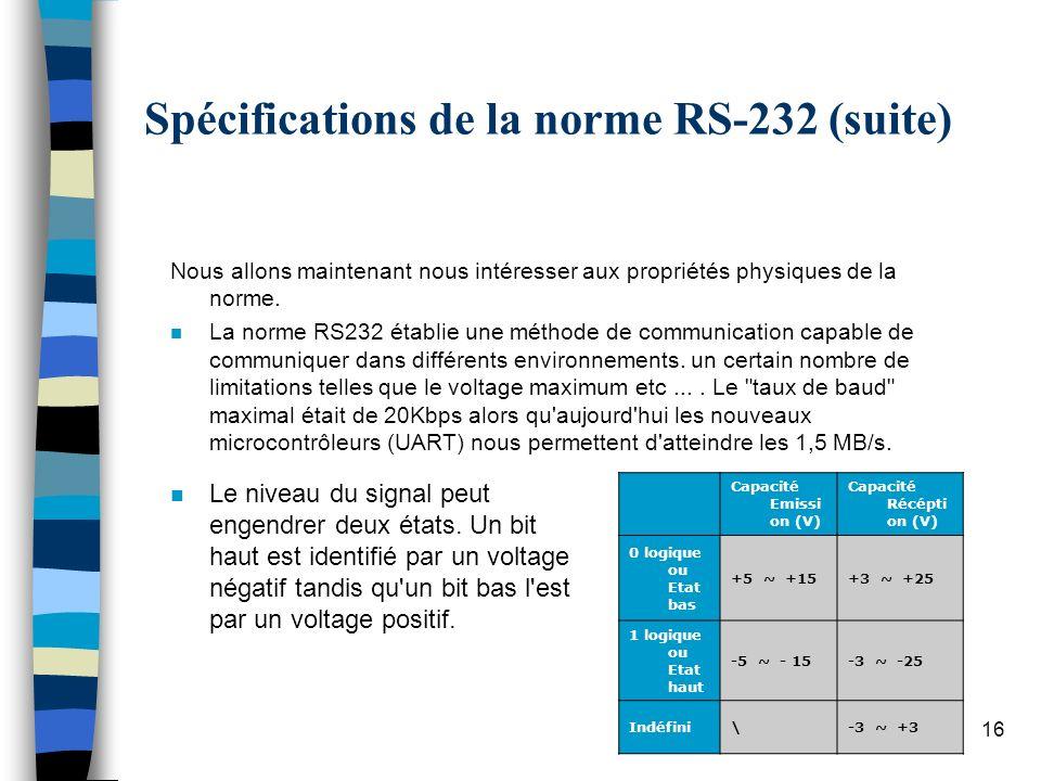 16 Spécifications de la norme RS-232 (suite) n Le niveau du signal peut engendrer deux états.