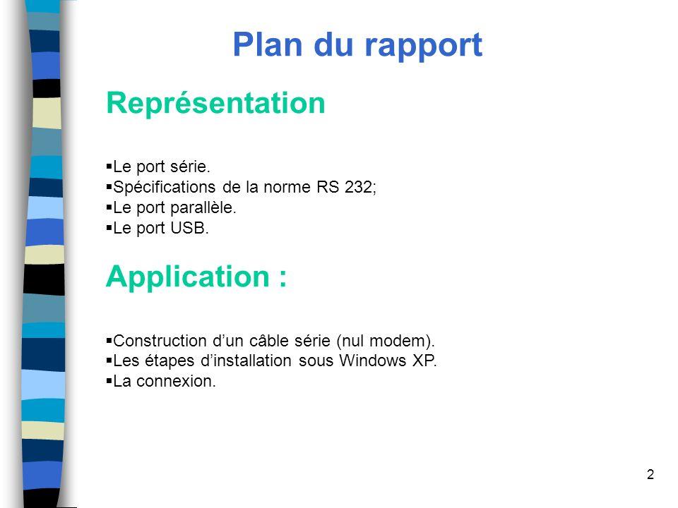 2 Plan du rapport Représentation Le port série.