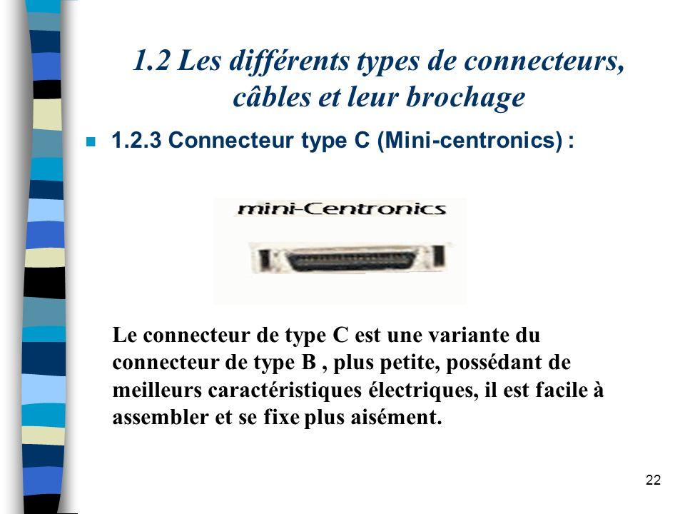 22 n 1.2.3 Connecteur type C (Mini-centronics) : Le connecteur de type C est une variante du connecteur de type B, plus petite, possédant de meilleurs caractéristiques électriques, il est facile à assembler et se fixe plus aisément.