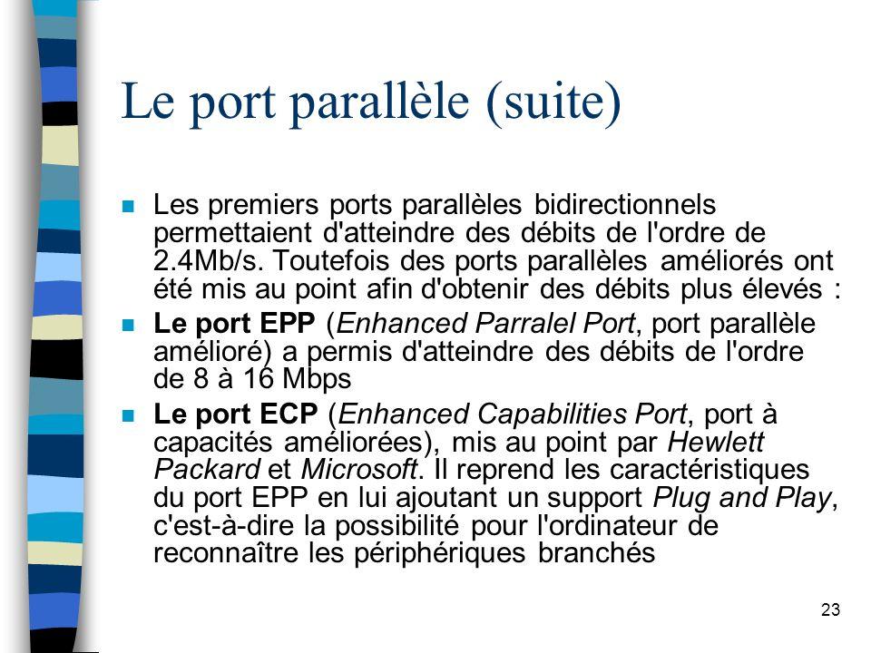 23 Le port parallèle (suite) n Les premiers ports parallèles bidirectionnels permettaient d atteindre des débits de l ordre de 2.4Mb/s.