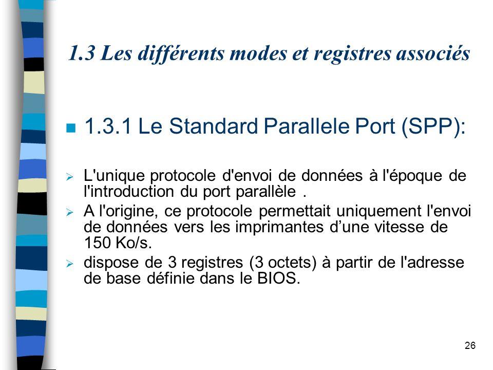 26 1.3 Les différents modes et registres associés n 1.3.1 Le Standard Parallele Port (SPP): L unique protocole d envoi de données à l époque de l introduction du port parallèle.