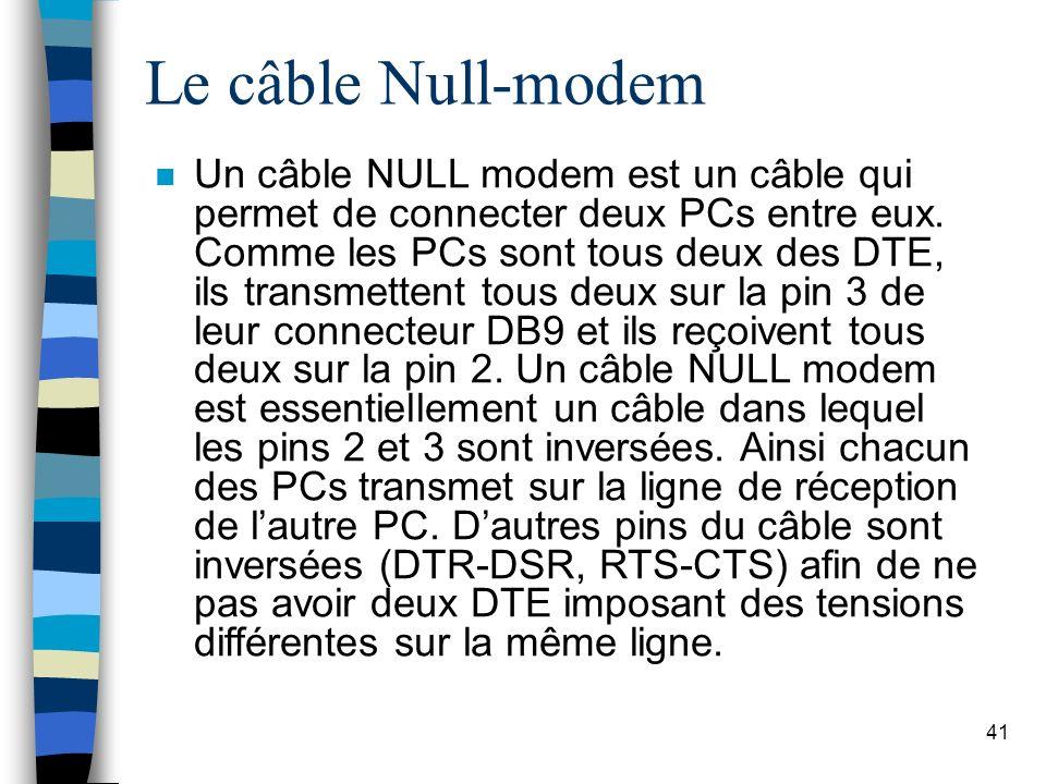 41 Le câble Null-modem n Un câble NULL modem est un câble qui permet de connecter deux PCs entre eux.