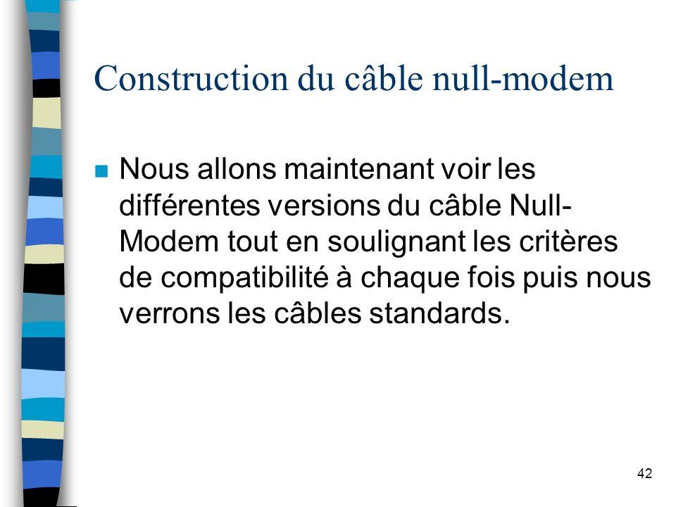 42 Construction du câble null-modem n Nous allons maintenant voir les différentes versions du câble Null- Modem tout en soulignant les critères de compatibilité à chaque fois puis nous verrons les câbles standards.