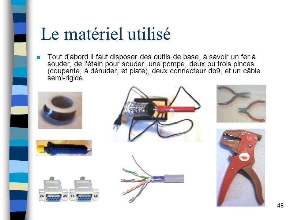 48 Le matériel utilisé n Tout d abord il faut disposer des outils de base, à savoir un fer à souder, de l étain pour souder, une pompe, deux ou trois pinces (coupante, à dénuder, et plate), deux connecteur db9, et un câble semi-rigide.