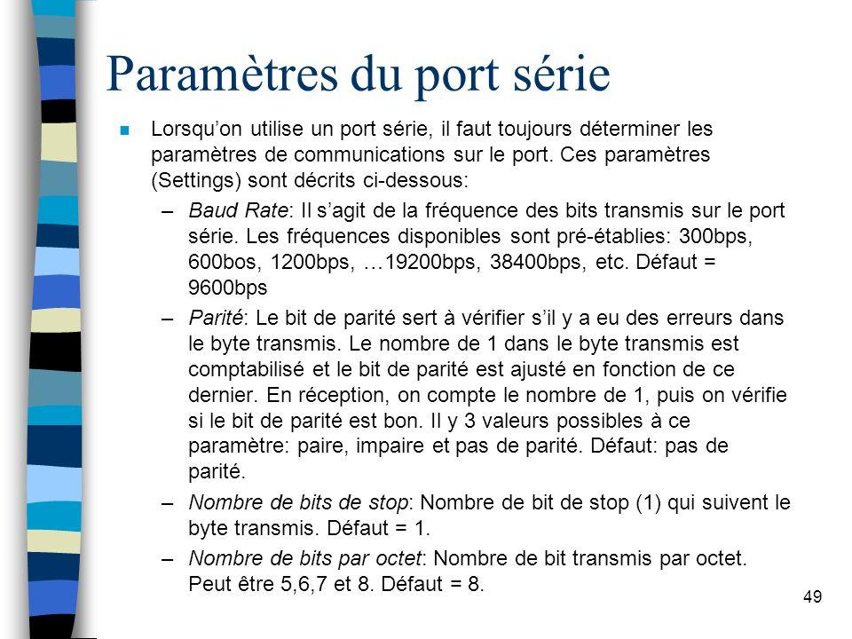 49 Paramètres du port série n Lorsquon utilise un port série, il faut toujours déterminer les paramètres de communications sur le port.
