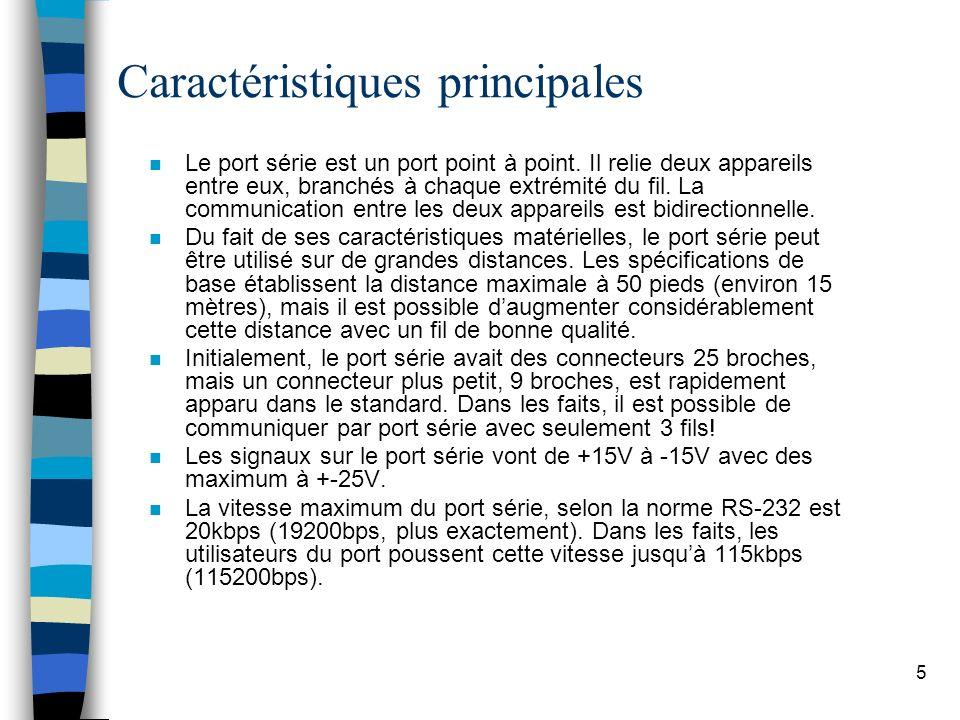 5 Caractéristiques principales n Le port série est un port point à point.