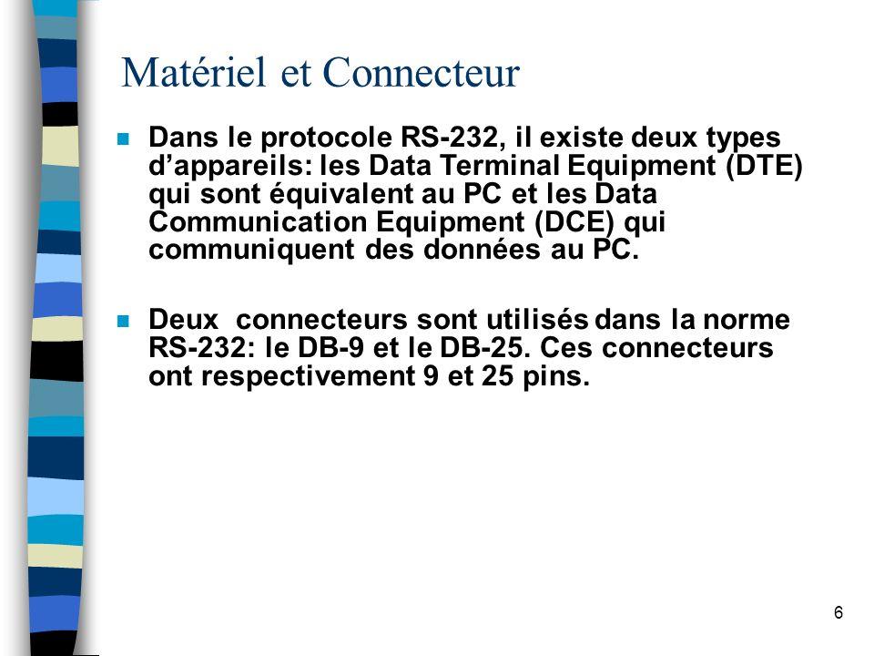 6 Matériel et Connecteur n Dans le protocole RS-232, il existe deux types dappareils: les Data Terminal Equipment (DTE) qui sont équivalent au PC et les Data Communication Equipment (DCE) qui communiquent des données au PC.