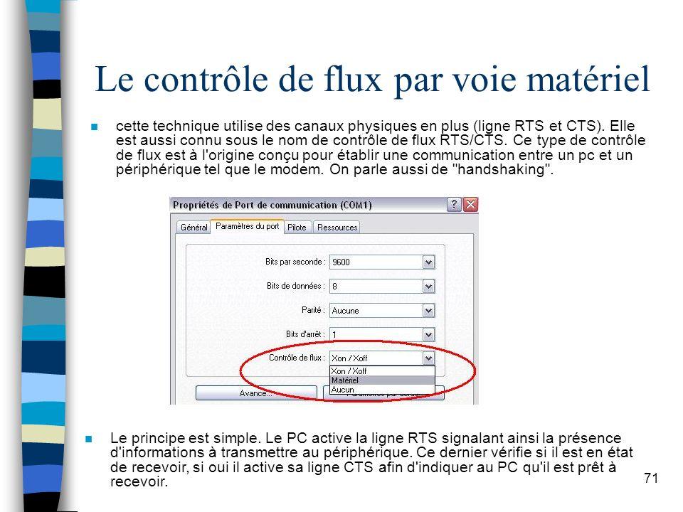 71 Le contrôle de flux par voie matériel n cette technique utilise des canaux physiques en plus (ligne RTS et CTS).