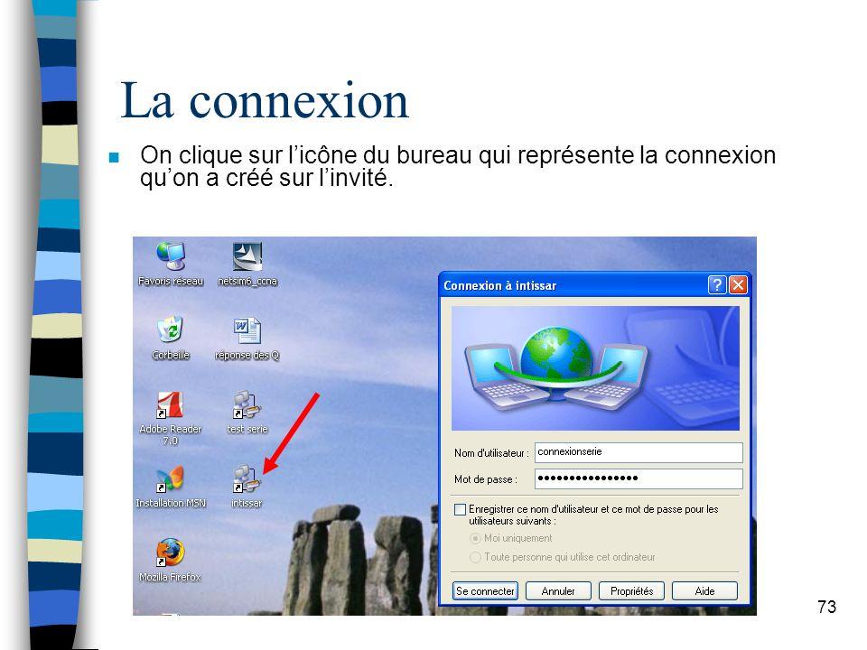 73 La connexion n On clique sur licône du bureau qui représente la connexion quon a créé sur linvité.
