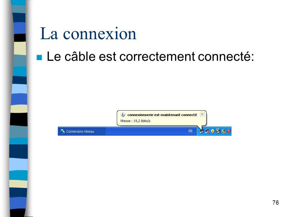 76 La connexion n Le câble est correctement connecté: