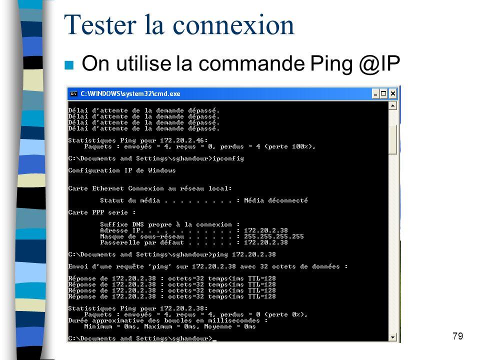 79 Tester la connexion n On utilise la commande Ping @IP
