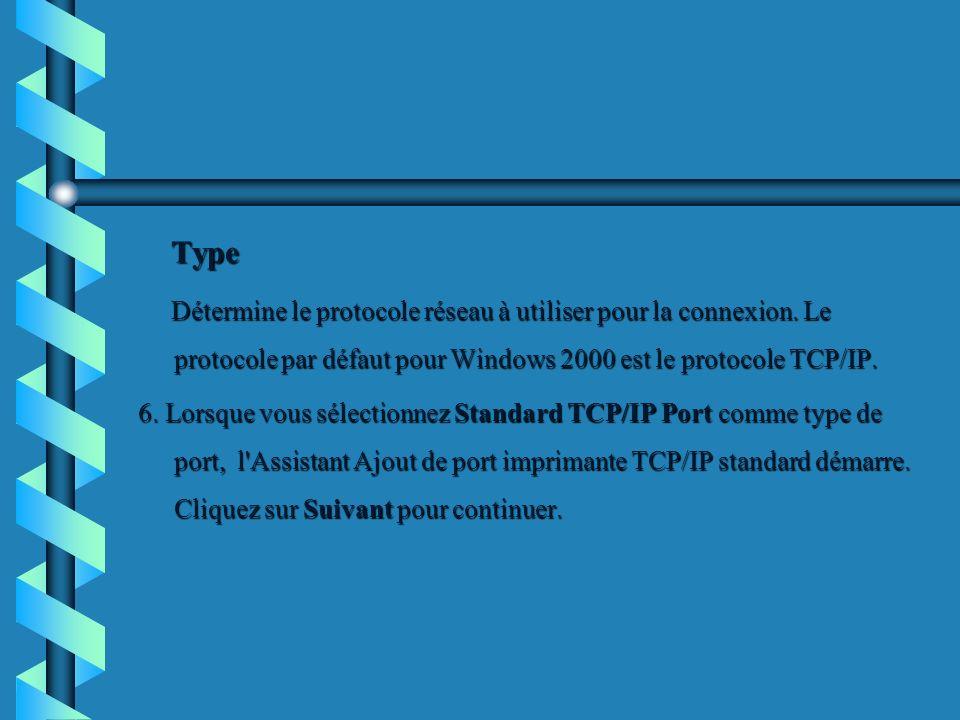 Type Type Détermine le protocole réseau à utiliser pour la connexion. Le protocole par défaut pour Windows 2000 est le protocole TCP/IP. Détermine le