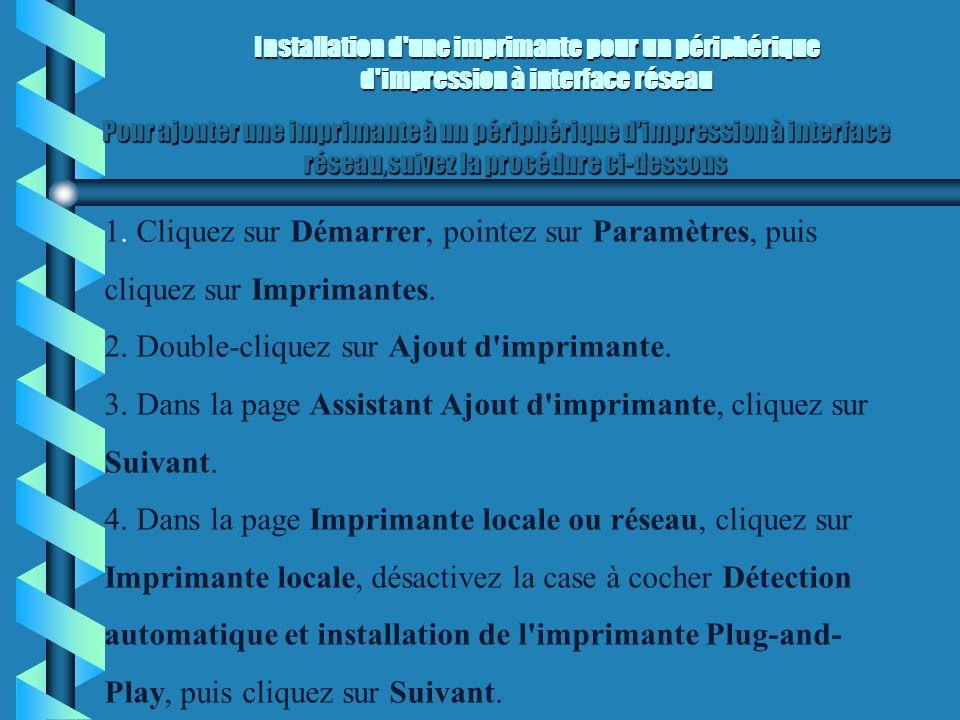 Spécification du dossier de spoule Spécification du dossier de spoule Pour spécifier le dossier de spoule d un serveur d impression exécutant Windows 2000, exécutez la procédure ci-dessous.